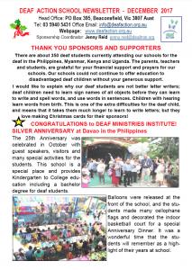 Deaf action School Newsletter Dec 2017